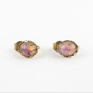 Simulated Fire Opal Glass Cabochon Stud Earrings